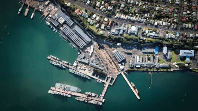 Satellite view of the Devonport Naval Base.
