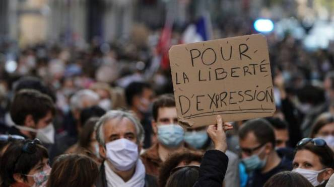 A march in defence of free speech in France in October, after a history teacher was beheaded for discussing caricatures of the Prophet Mohammed with his class.