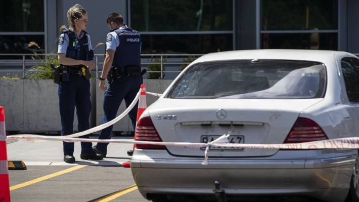 A white Mercedes car was guarded by police outside Christchurch Hospital after Wayman's death.