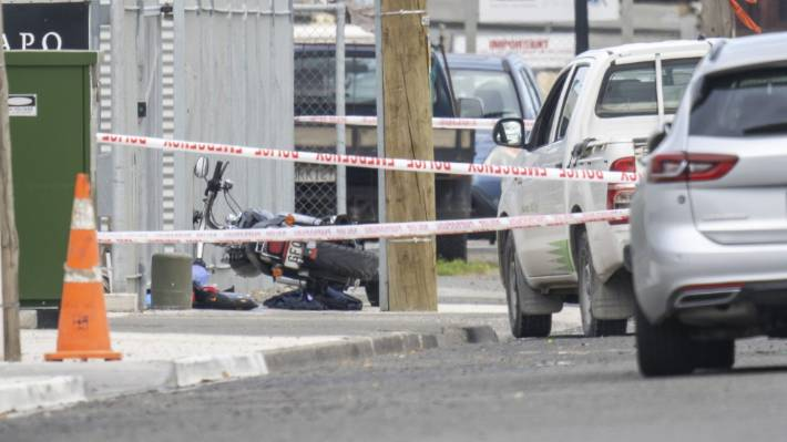 Police at the scene of a serious assault on Mersey St in Napier on Monday afternoon.