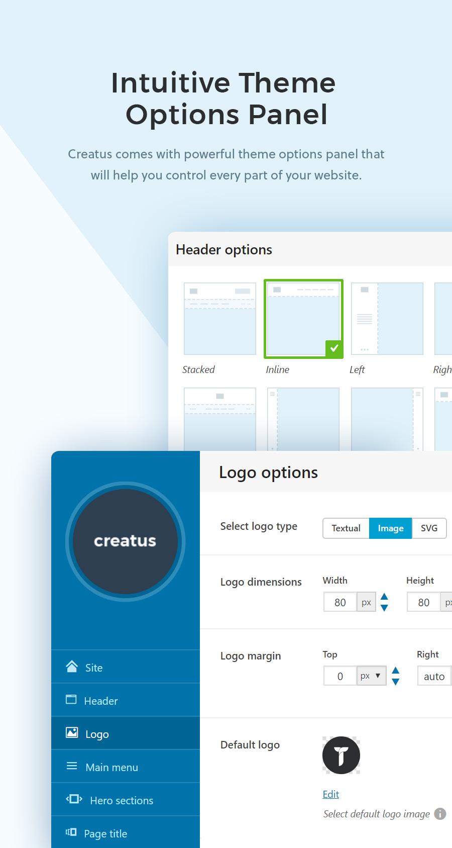 Creatus WordPress theme theme option panel