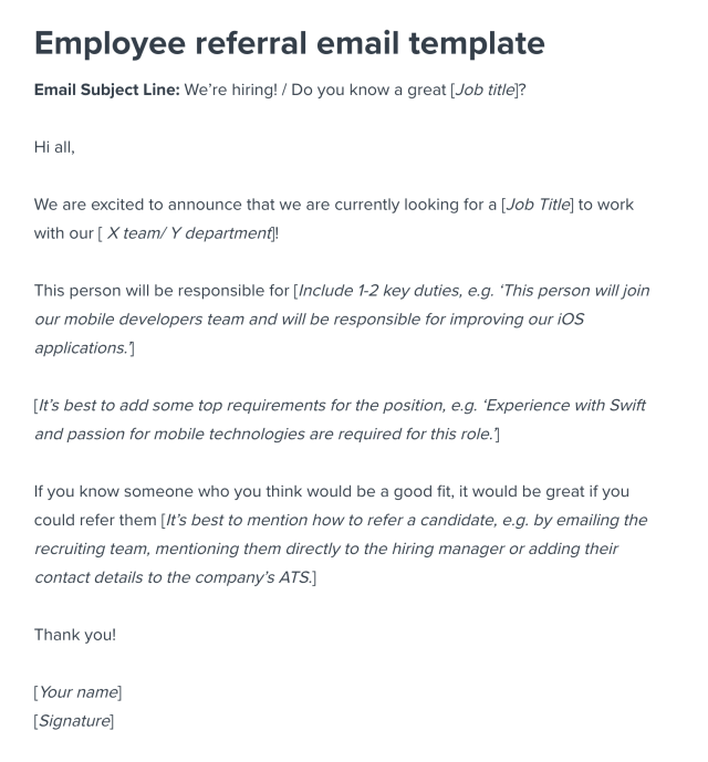 Employee Referral Program Sample Email Template