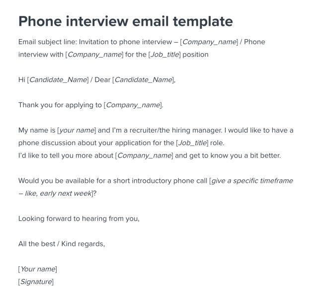 Phone Interview Invitation Email Template