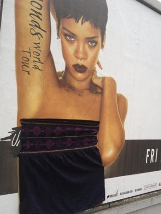Dublin residents have covered Rihanna's poster with clothing. Picture: Twitter