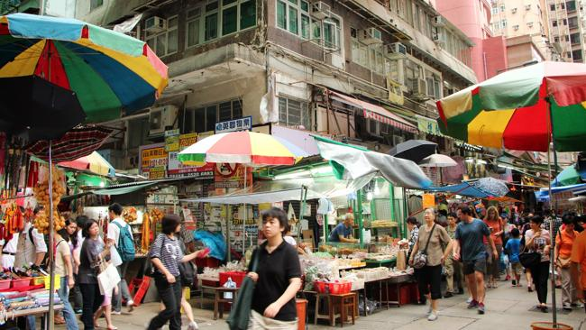 Wan Chai's market in the lanes beside the Hotel Indigo. Picture: Sarah Nicholson