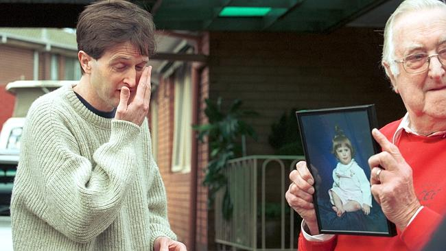 John Sharpe faces the media with his father Myles at their Mornington home.