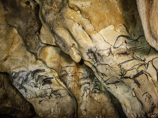 Horses etched with charcoal into the cave walls.