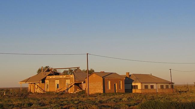 Abandoned railway buildings in Marree.