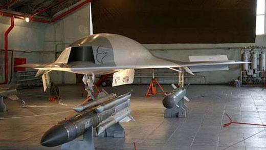 Robot warrior ... A prototype stealth drone under consideration by the Russian air force.