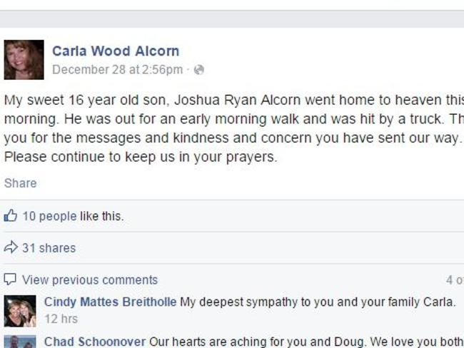 Tribute ... Carla Wood Alcorn's tribute mentioned neither the suicide or the sexual orien