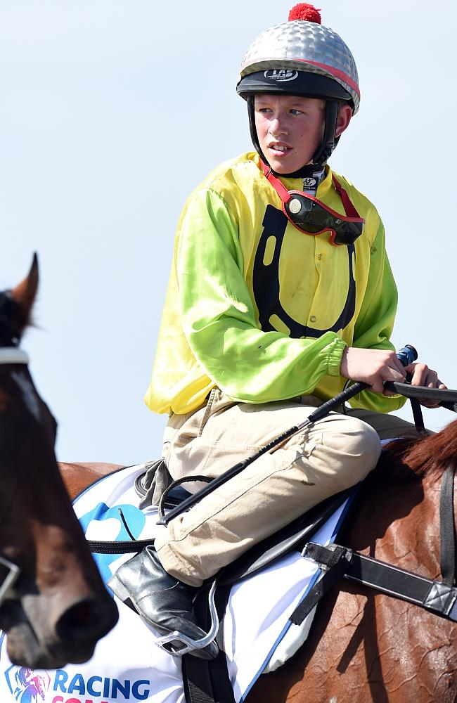 Ben Allan after winning an official trial on Prince Rahy at the new Pakenham racecourse l