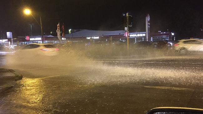 Flooding on the Central Coast Highway at West Gosford. Picture: Llewellyn Lazaro