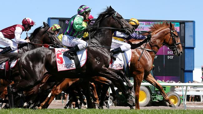Drago leaps into action in the 2013 Victoria Derby. Picture Ian Currie