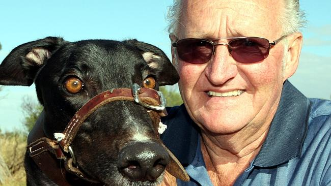 Trainer Ron Ball with greyhound Mr Metz.