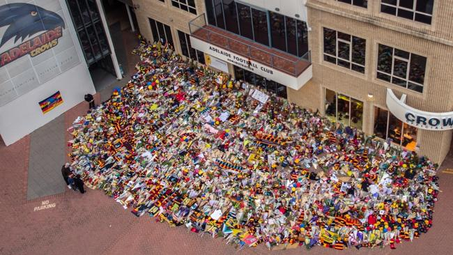 Phil Walsh Tributes at AAMI Stadium. Pic: Coptercam