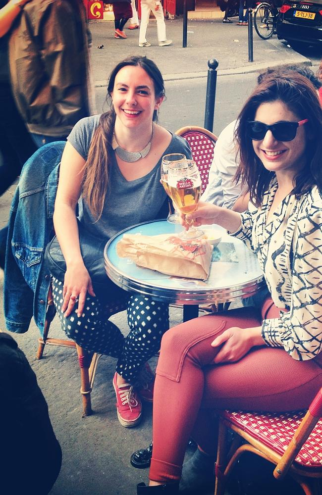 Enjoying the Parisian life with a new-found French friend.