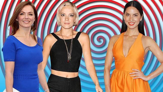Former Spice Girl Geri Halliwell (left) and singer Lily Allen (centre) have admitted they