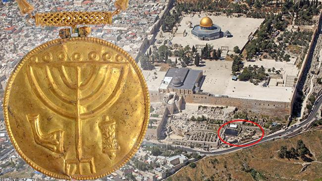 The gold Torah medallion uncovered from a ruined Byzandium-era building on the south side of Jerusalem's Temple Mount.