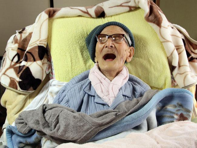 Jiroemon Kimura smiling as he celebrates his 116th birthday, he died in June this year. Picture: AFP