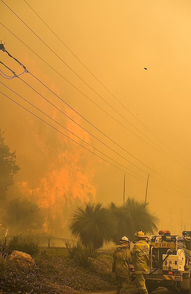 Firefighters battle against the devastating bushfire in Perth's Hills. Picture: Department of Fire and Emerge...