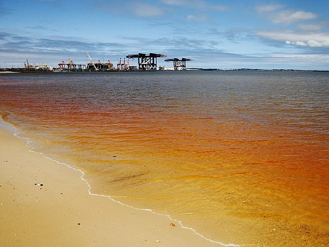 A bright orange plume has been found in Botany Bay near Port Botany in Sydney. Picture: B