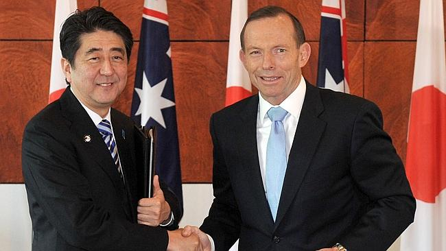 'Special relationship ' ... Japanese Prime Minister Shinzo Abe and Australian Prime Minis