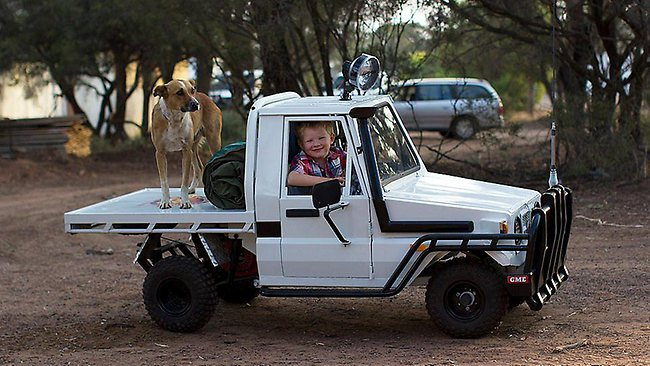 Boy with mini Land Cruiser