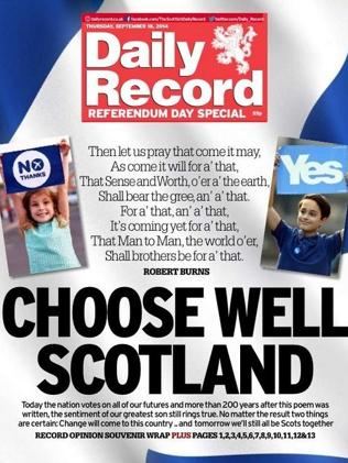 The Daily Record quotes Robert Burns.