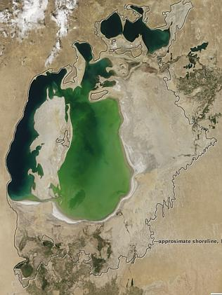 The Aral Sea as seen in 2000.