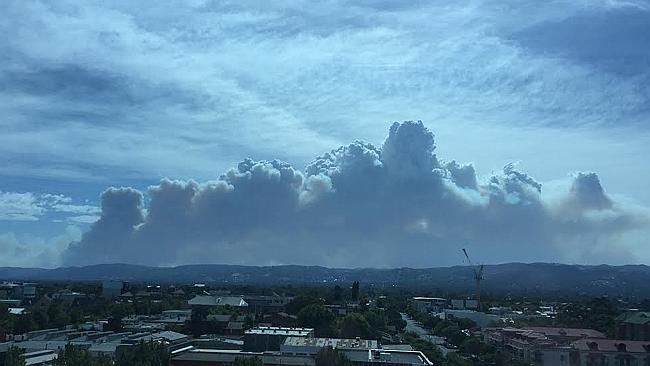 Smoke from the bushfire over Adelaide this morning. Picture: Mal Brown