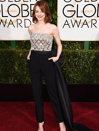 Emma Stone opted for a chic pantsuit.