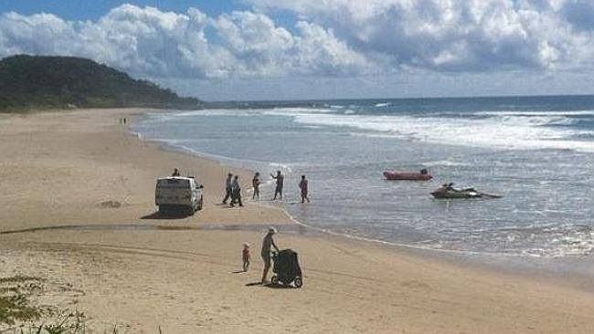 Police at the scene of the fatal shark attack at Shelly Beach in East Ballina. Picture: A