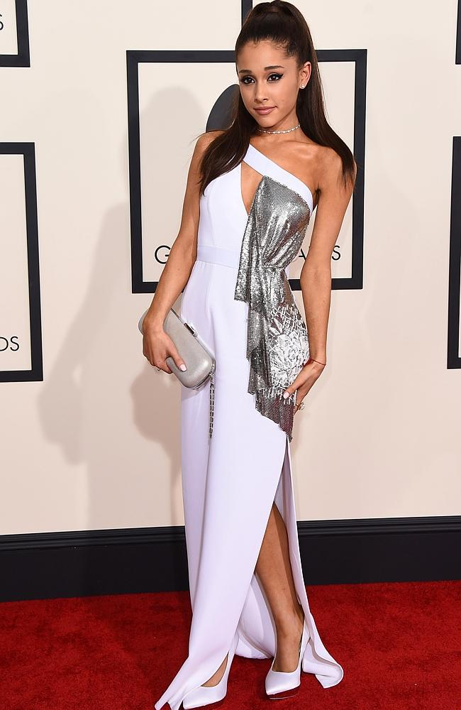 Stunning ... Ariana Grande arrives at the 57th annual Grammy Awards at the Staples.