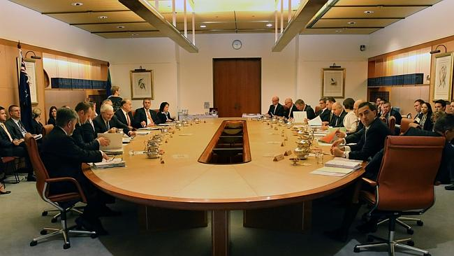 State and Territory Treasurers in the Cabinet Room at Parliament House, Canberra.