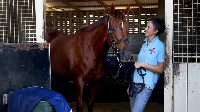 Bianca Gilcrist with Srikandi after Doomben trackwork last week. Picture: Darren England