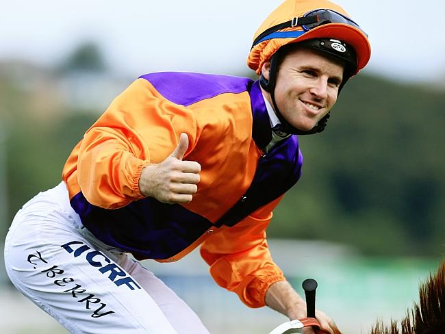 Tommy Berry after winning aboard Our Boy Malachi at Royal Randwick this year. Picture: Ma