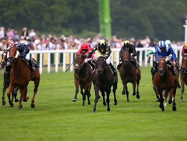 Martin Harley riding Goldream (centre) narrowly won the King's Stand Stakes.