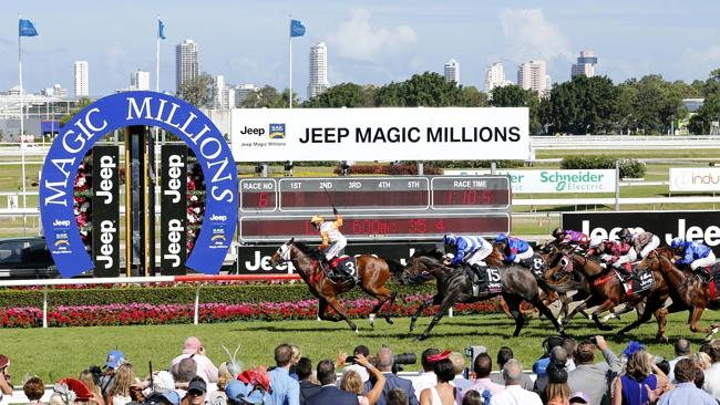 Action from the Jeep $2 Million Magic Millions 2YO Classic at the Gold Coast Turf Club, W