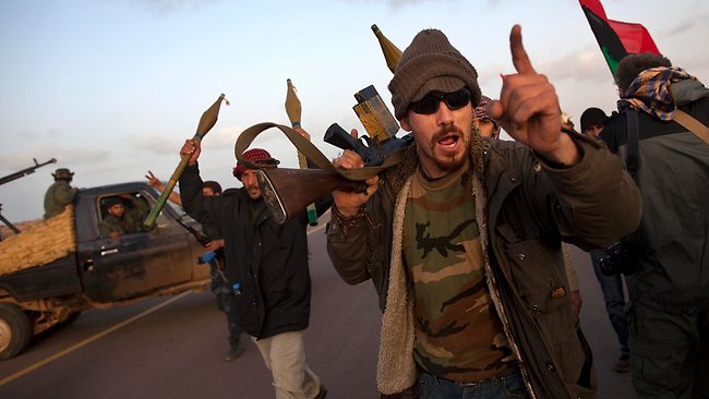 Libyan rebels near Ras Lanuf