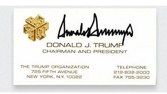 Business cards of famous people