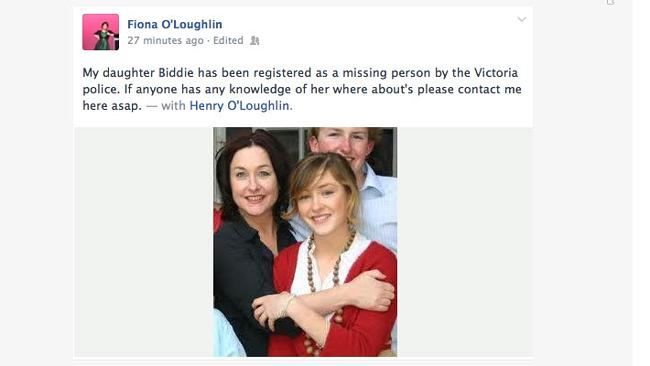 The message posted by O'Loughlin on Facebook. Picture: Facebook