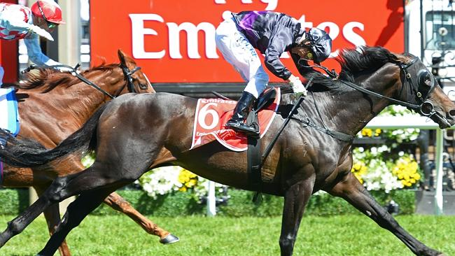 Finish line ... Oliver keeps Fiorente a full length in front of Red Cadeaux. Picture: AFP