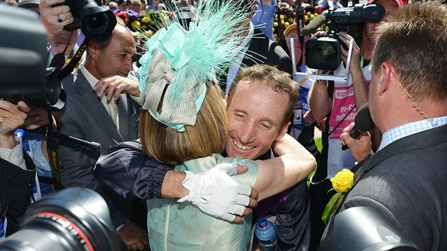 Winning duo ...  Damien Oliver hugs trainer Gai Waterhouse after Fiorente won the Emirates Melbourne Cup. Picture: Getty Images