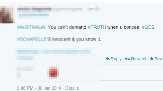 A Corby truther's tweet. Picture...