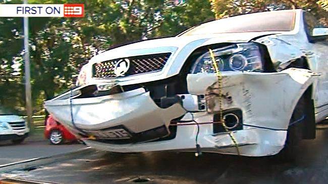 The damaged front of Troy Buswell's ministerial car, which was towed away by police from