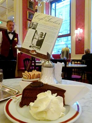 The famous Sacher Torte in Cafe Sacher.