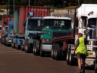 Trucks line at Port Botany, causing the kind of traffic which concerns residents at Moore