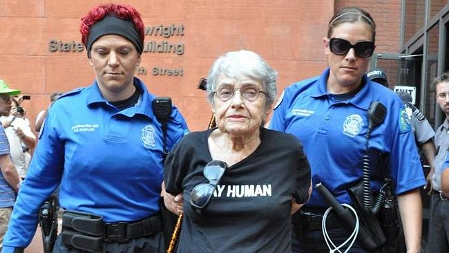 Activist ... Hedy Epstein, 90, is arrested in St Louis.