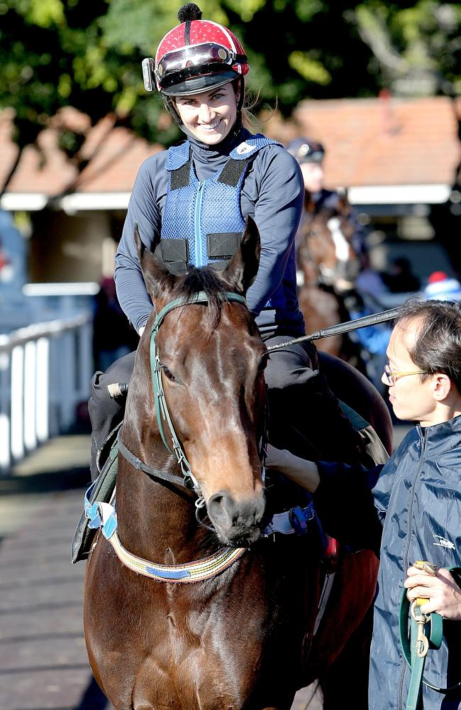 Tegan Harrison and Temple Of Boom at Tuesday's Eagle Farm jumpouts. Picture: Mark Cranitc