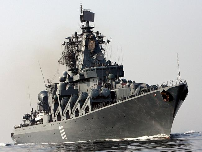 Pride of Russian fleet bound for Brisbane ... The Russia Navy's guided-missile cruiser, T